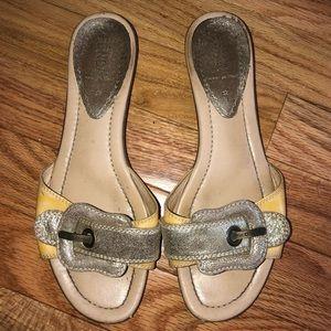 Fendi Metallic Leather Zucca Print Buckle Sandals